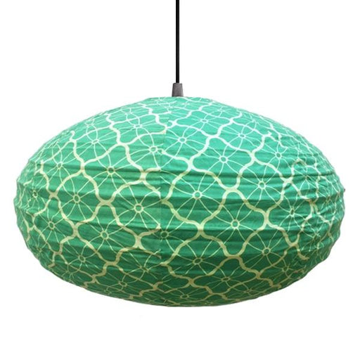 Small 60cm Green and Cream Lotus Cotton Pendant Lampshade