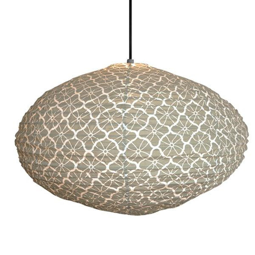 Large 80cm Grey and Cream Lotus Cotton Pendant Lampshade