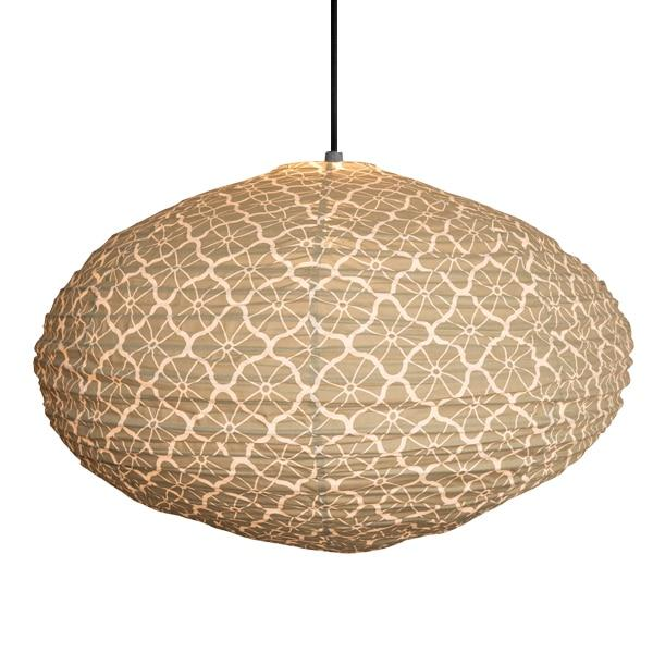 Small 60cm Cream and Olive Green Lotus Cotton Pendant Lampshade