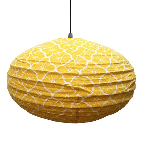 Large 80cm Cream and Yellow Lotus Cotton Pendant Lampshade