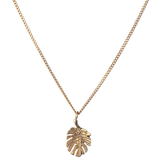 Tiny Gold Vermeil Monstera Leaf Necklace