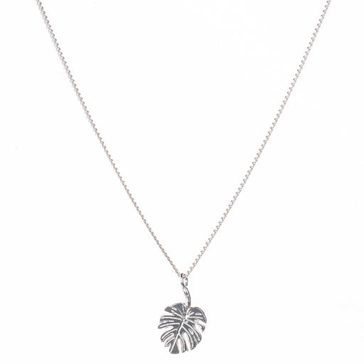 Tiny Silver Monstera Leaf Necklace