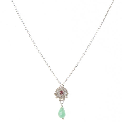 Silver Dahlia Necklace With Pink Tourmaline & Chrysoprase Drop