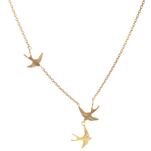 Tiny Gold Vermeil Swallows Necklace