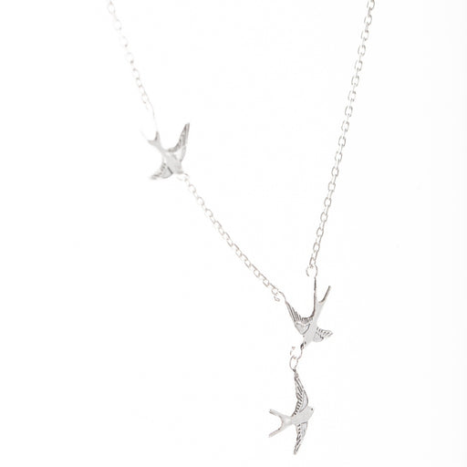 Tiny Silver Swallows Necklace