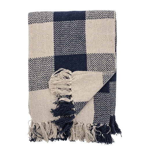 Navy & Ecru Checked Recycled Cotton Throw