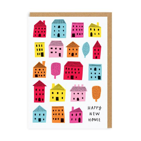 Neon Houses Happy New Home Card