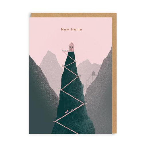 Pink And Green Embossed Mountain New Home Card