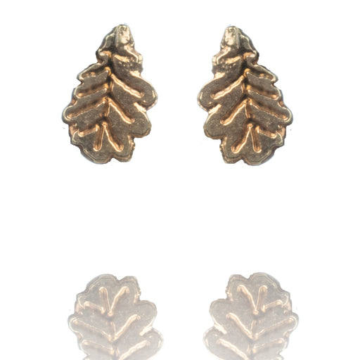 Tiny Gold Vermeil Oak Leaf Stud Earrings