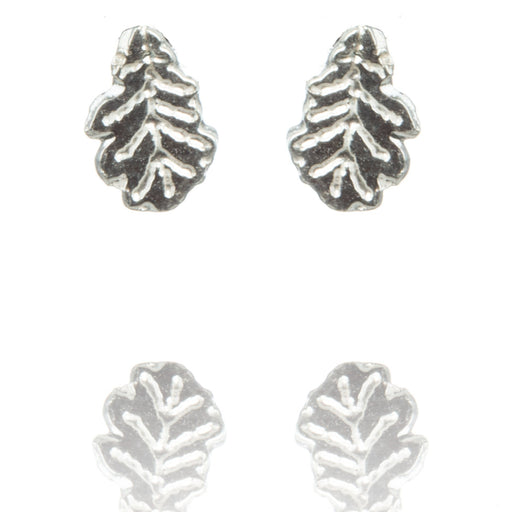 Tiny Sterling Silver Oak Leaf Stud Earrings