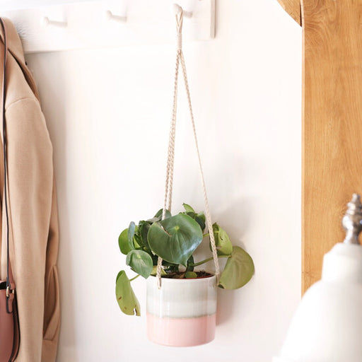 Grey & Pink Dipped Hanging Planter With Braided Rope