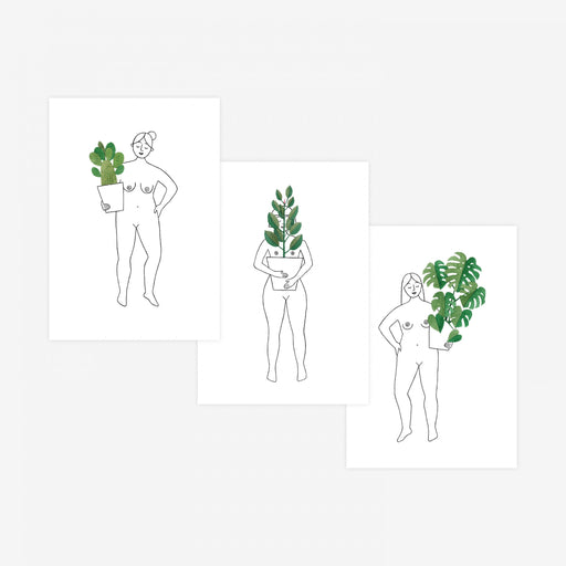 Set Of Three Plant Ladies Postcards