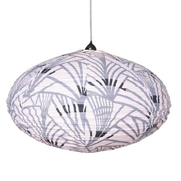 Large 80cm Cream Grey and Navy Rainforest Cotton Pendant Lampshade
