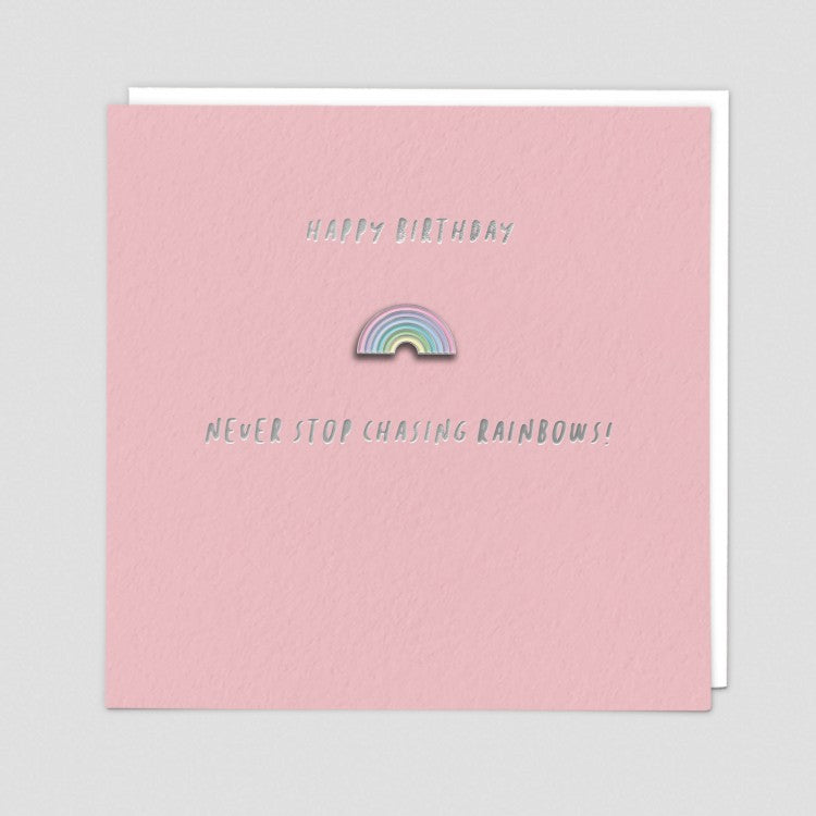 Never Stop Chasing Rainbows Enamel Pin Card