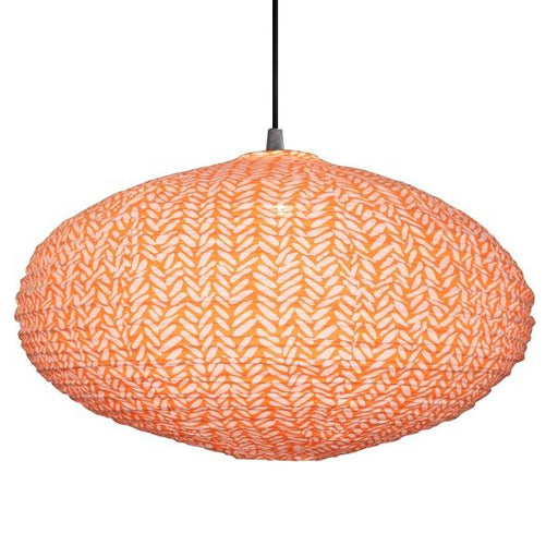 Large 80cm Cream and Orange Rice Cotton Pendant Lampshade