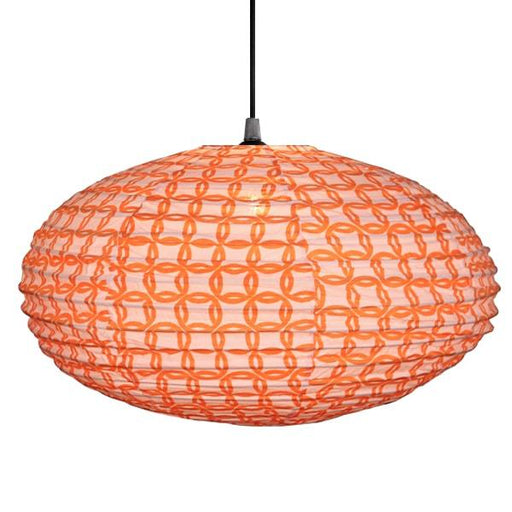 Small 60cm Cream and Orange Ring Cotton Pendant Lampshade