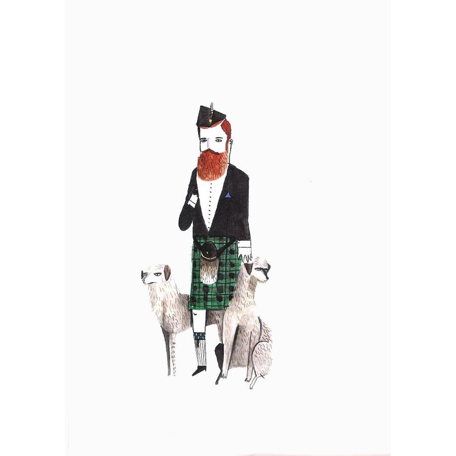 Scottish Gent with Scottish Deerhounds by Dick Vincent