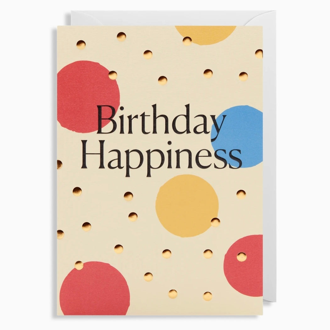 Birthday Happiness Embossed Gold Bumps Card
