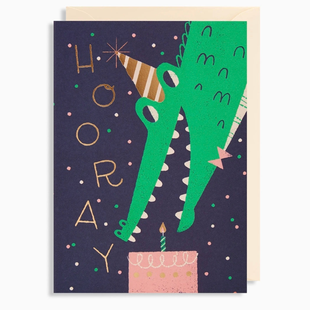 Hooray Crocodile Birthday Card