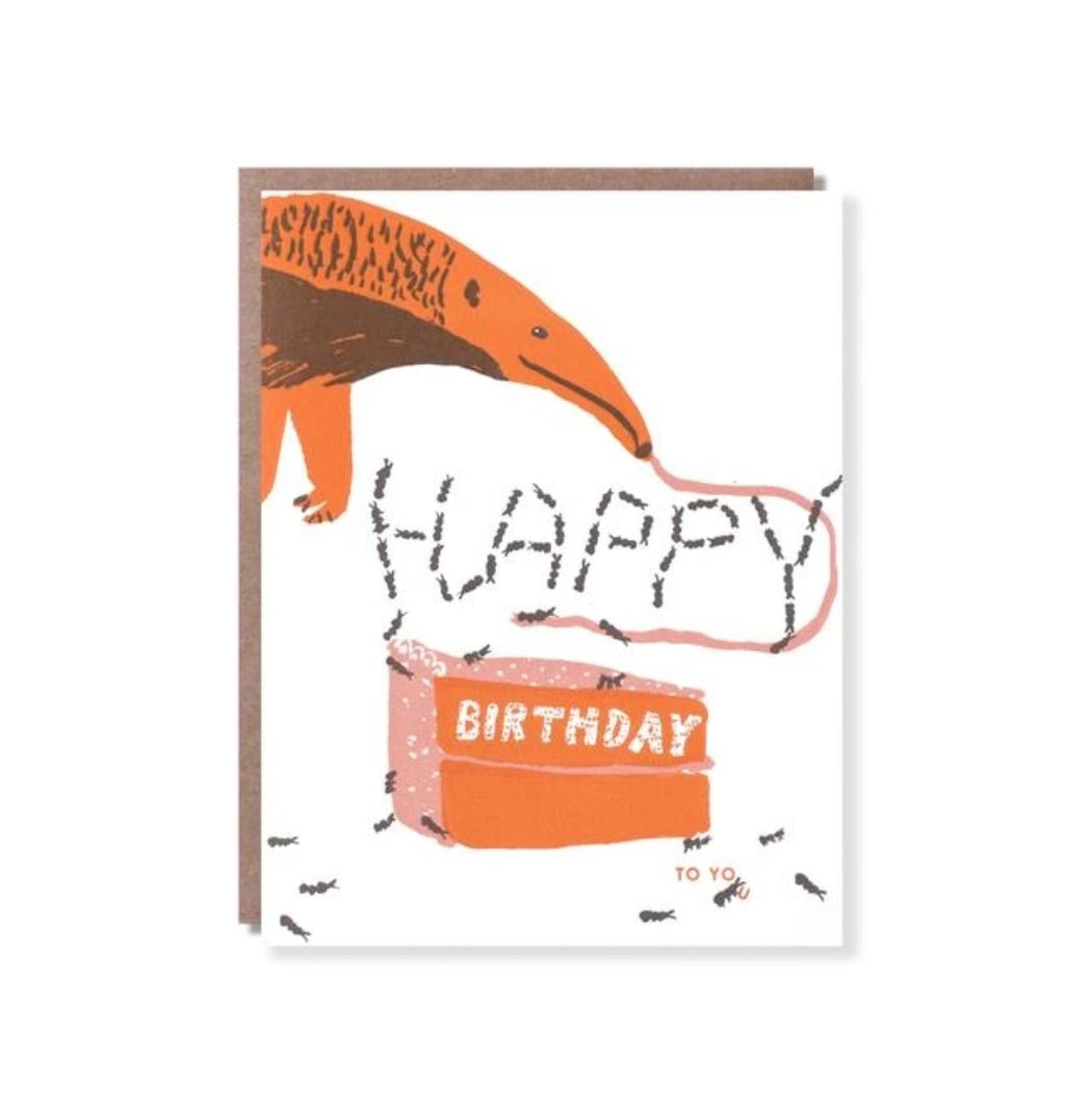 Anteater and Ants  Birthday Card