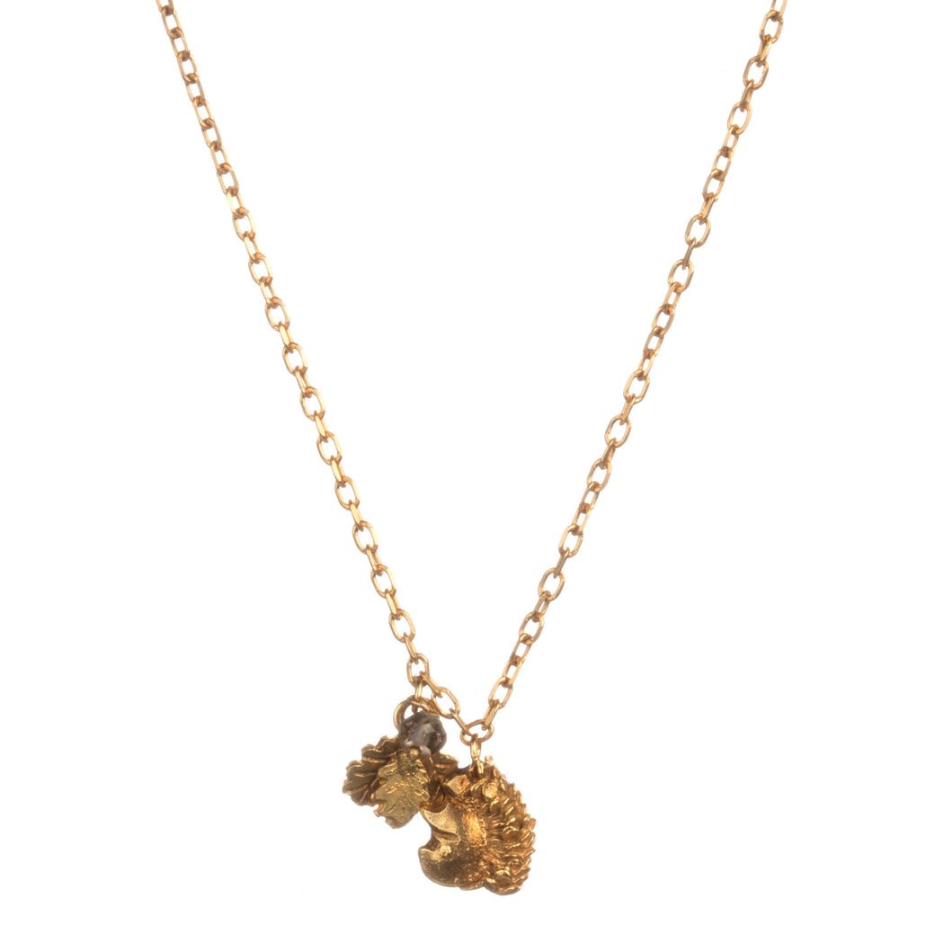 Tiny Gold Vermeil Squirrel and Leaf Pendant Necklace