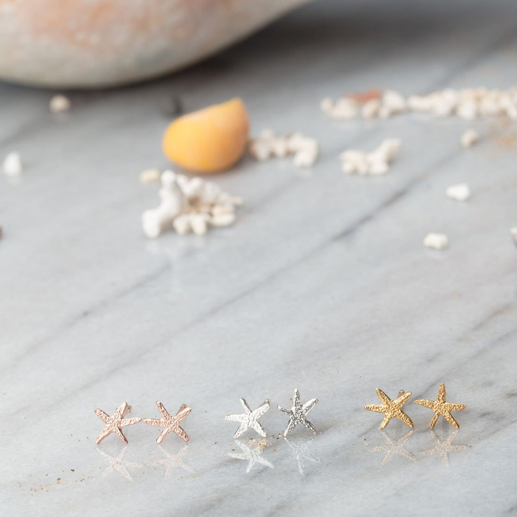 Tiny Sterling Silver Starfish Stud Earrings