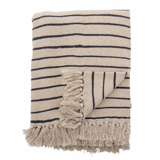 Navy & Ecru Striped Recycled Cotton Eia Throw