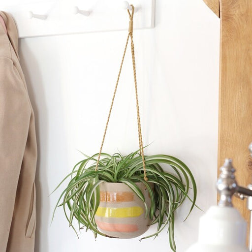 Textured Earthenware Hanging Planter With Painted Stripes