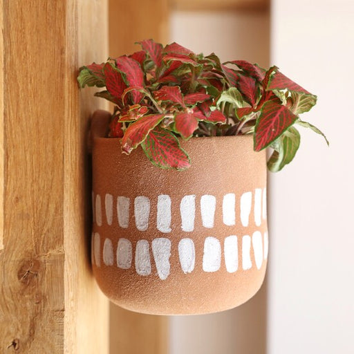 Textured Terracotta Hangable Planter With Painted Stripes