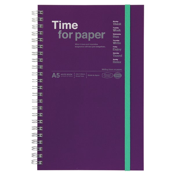 A5 Spiral Bound Time For Paper Notebook - Various Colours