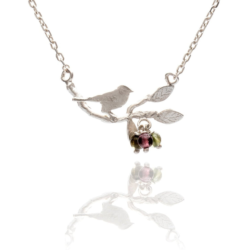 Tiny Sterling Silver Bird on a Branch Necklace