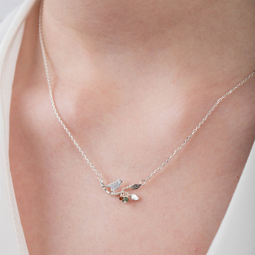 Tiny Gold Vermeil Bird on a Branch Necklace