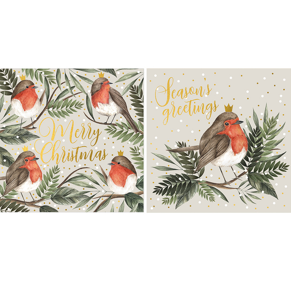 Set Of 10 Robin Christmas Card Pack