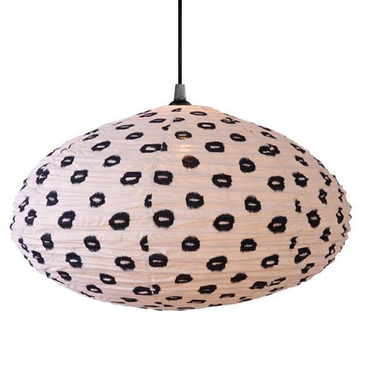Small 60cm Cream and Black Yau Cotton Pendant Lampshade