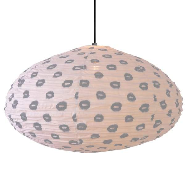 Large 80cm Cream and Grey Yau Cotton Pendant Lampshade