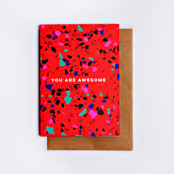 You Are Awesome Red Terrazzo Card