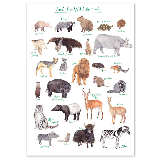 A4 A to Z of Wild Animals Art Print