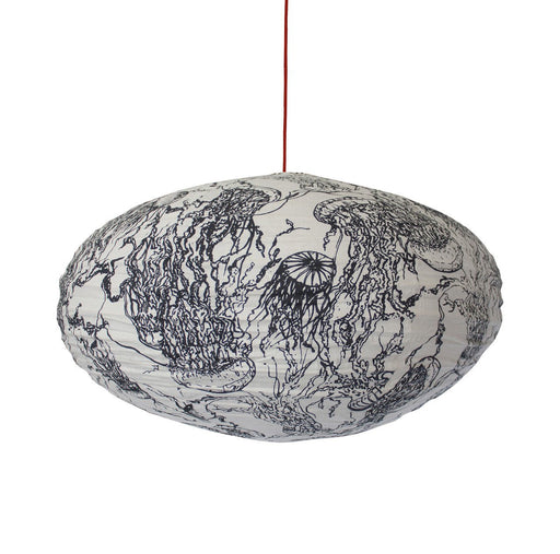 Large 80cm Black And White Auralia Cotton Pendant Lampshade