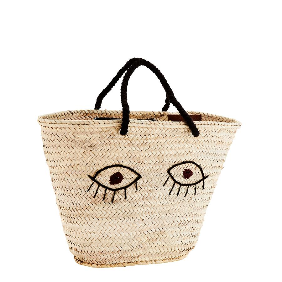 Straw Bag with Embroidery