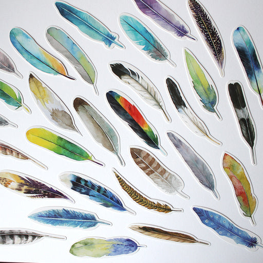 Colourful Feather Bookmark Set