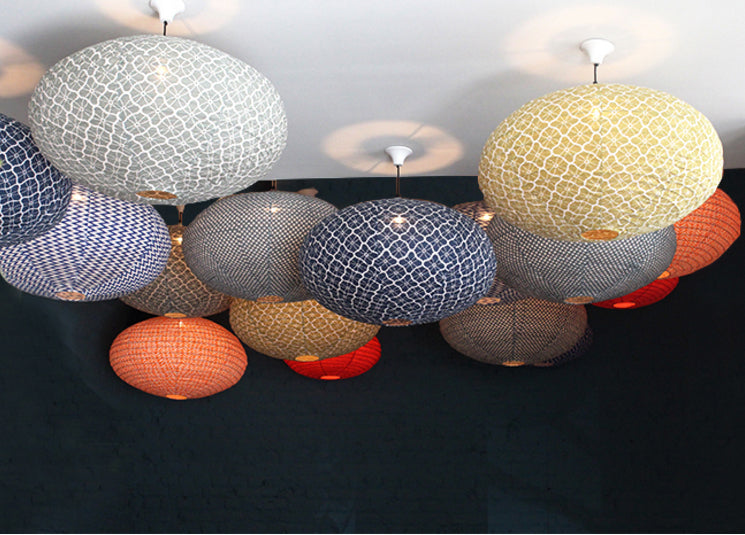 Small 60cm Red and Orange Taifu Cotton Pendant Lampshade
