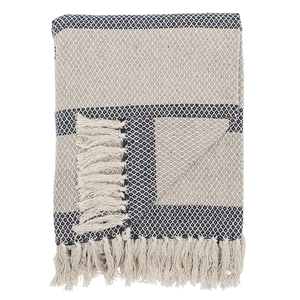 Navy and Cream Stripe Throw