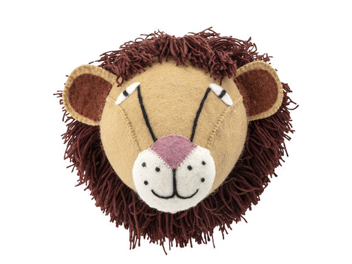 Large Brown and Cream Textile Lion Head Wall Hanging