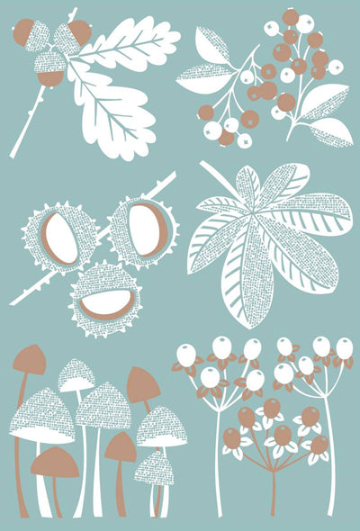 Large Sky Blue & Grey Autumn Art Print