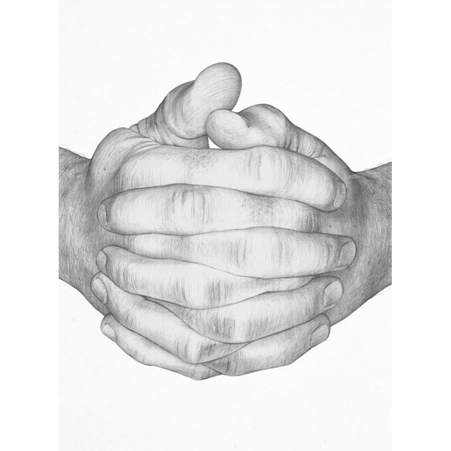 Folded Hands Gray Graphite Poster