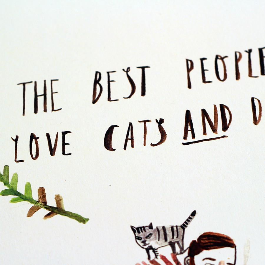 The Best People Love Cats & Dogs Art Print