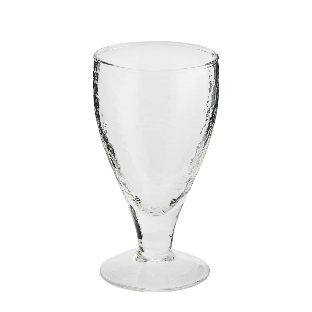 Clear Hammered Glass Wine Glass
