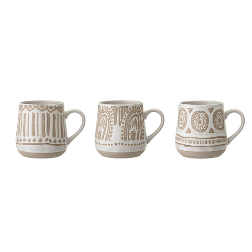 Large Cora Aztec Natural Stoneware Mug Set of 3