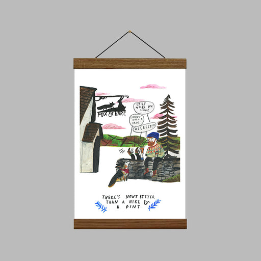 A4 A Hike & A Pint Art Print