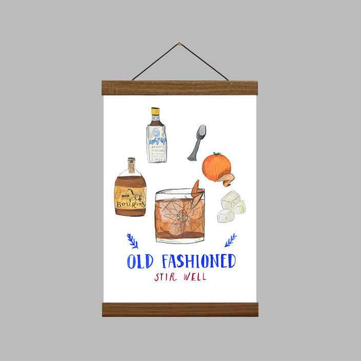 A4 Old Fashioned Cocktail Art Print